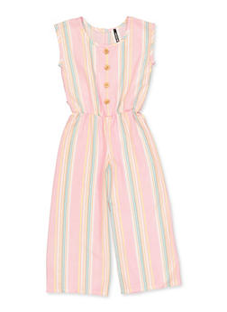 Girls 7-16 Striped Button Detail Jumpsuit - 1619061950045