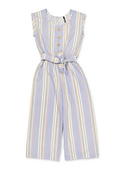 Girls 7-16 Striped Faux Button Jumpsuit - 1619061950046