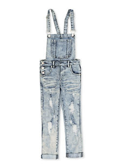 Girls 7-16 Rolled Cuff Distressed Denim Overalls - 1619063400025