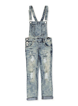 Girls 7-16 Ripped Denim Overalls - 1619063400026