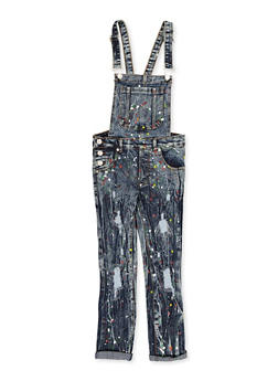 Girls 7-16 Paint Splatter Denim Overalls - 1619063400027