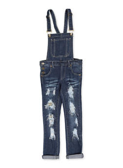 Girls 7-16 Sequin Patch and Repair Denim Overalls - 1619063400028