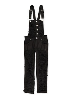 Girls 7-16 Destroyed Denim Overalls | Black - 1619063400030