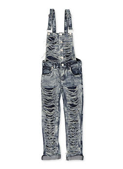 Girls 7-16 Destroyed Acid Wash Denim Overalls - 1619063400031