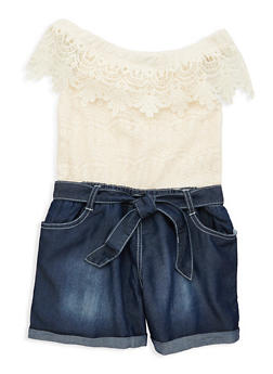 Girls 7-16 Limited Too Lace Denim Romper - 1619069380044