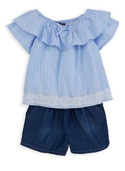 Girls 7-16 Striped Denim Romper - 1619069380054