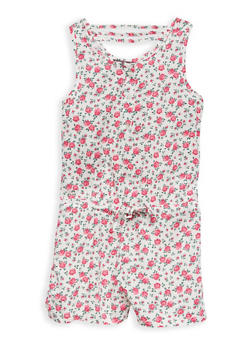 Girls 7-16 Floral Caged Back Romper - 1619073990003