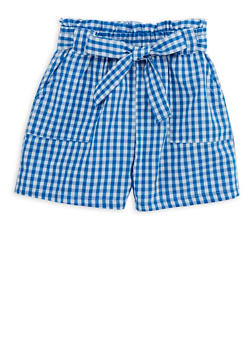 Girls 4-6x Gingham Paperbag Waist Shorts - 1620038340045