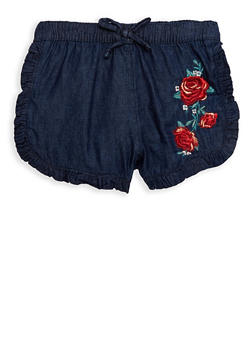 Girls 4-6x Floral Embroidered Denim Shorts - 1620038340061