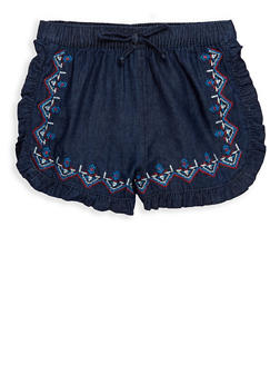 Girls 4-6x Embroidered Ruffled Shorts - 1620038340070