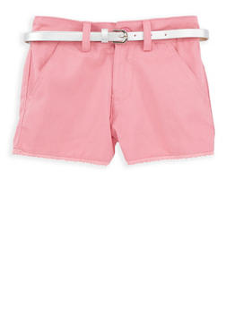 Girls 4-6x Belted Twill Shorts with Crochet Trim - 1620038340072
