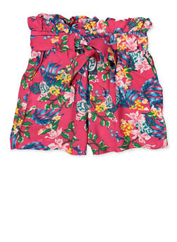 Girls 4-6x Floral Paper Bag Waist Shorts - 1620038340080