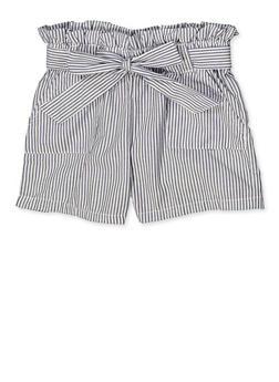 Girls 4-6x Striped Paper Bag Waist Shorts - 1620038340087