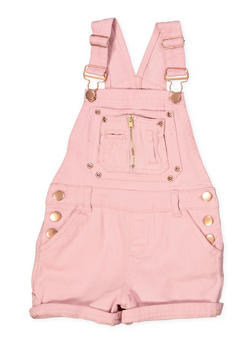 Girls 4-6x Roll Cuff Denim Shortalls - 1620038340092