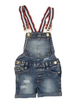 Girls 4-6x Fixed Cuff Denim Shortalls - 1620038340093