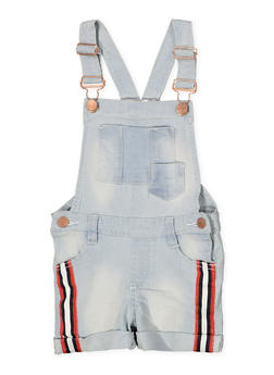 Girls 4-6x Striped Tape Trim Denim Shortalls - 1620038340094