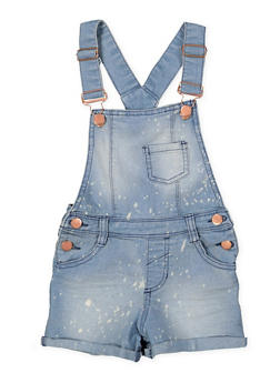 Girls 4-6x Paint Splatter Denim Shortalls - 1620038340095