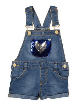 Girls 4-6x Reversible Sequin Heart Denim Shortalls - 1620038340096