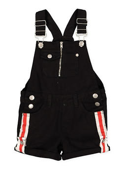Girls 4-6x Denim Striped Tape Detail Shortalls - 1620038340098