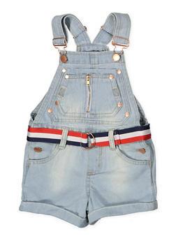 Girls 4-6x Striped Belt Denim Shortalls - 1620038340099
