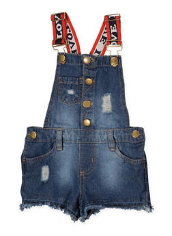 Girls 4-6x Distressed Denim Shortalls - 1620038340100