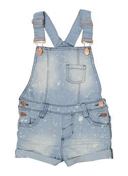 Girls 4-6x Paint Splatter Jean Shortalls - 1620038340106