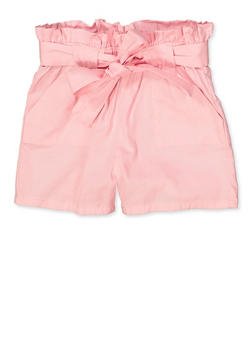 Girls 4-6x Solid Paper Bag Waist Shorts - 1620038340110