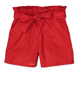 Girls 4-6x Paper Bag Waist Shorts | 1620038340111 - 1620038340111