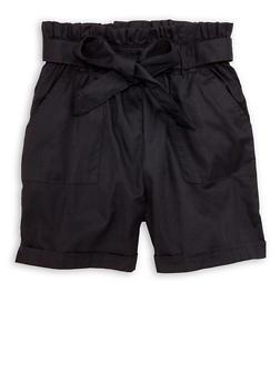 Little Girls Solid Poplin Paper Bag Waist Shorts - 1620038340198