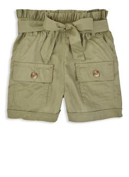 Little Girls Solid Paper Bag Waist Shorts - 1620038340203