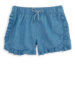 Girls 4-8 Ruffled Chambray Shorts - 1620054730020