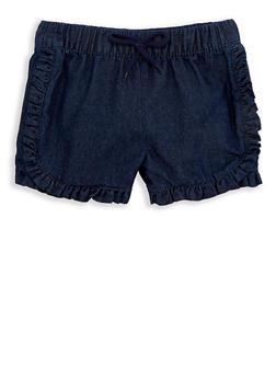 Girls 4-6x Ruffled Chambray Shorts - 1620054730020