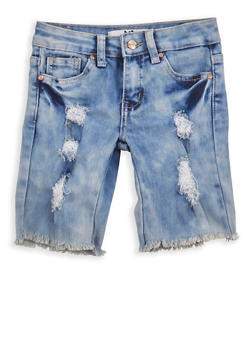 Girls 4-6x Frayed Denim Bermuda Shorts - 1620056720003
