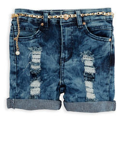 Girls 4-6x Acid Wash Denim Shorts with Belt - 1620056720012