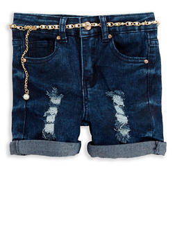 Girls 4-6x Distressed Denim Shorts with Belt - 1620056720014