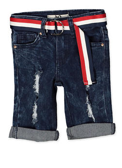 Girls 4-6x Belted Denim Distressed Bermuda Shorts - 1620056720022