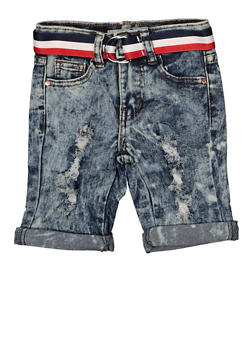 Girls 4-6x Striped Belt Denim Bermuda Shorts | 1620056720025 - 1620056720025