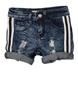 Girls 4-6x Striped Tape Jean Shorts - 1620056720031