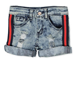 Girls 4-6x Striped Tape Trim Jean Shorts - 1620056720033