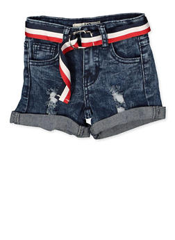 Girls 4-6x Striped Belt Frayed Denim Shorts - 1620056720035