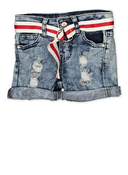 Girls 4-6x Distressed Cuffed Denim Shorts - 1620056720037