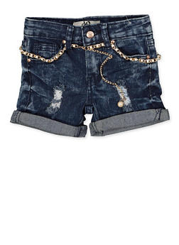 Girls 4-6x Faux Pearl Belted Jean Shorts - 1620056720039