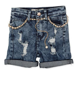 Girls 4-6x Faux Pearl Belted Denim Shorts - 1620056720040