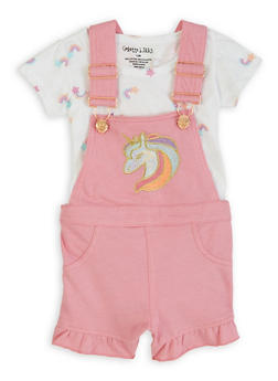 Little Girls Unicorn Patch Shortalls Set - 1620061950013