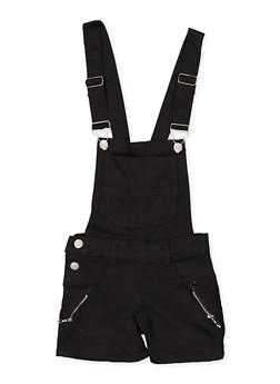 Girls 4-6x Zip Detail Hyperstretch Shortalls | Black - 1620063400035