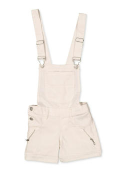 Girls 4-6x Zip Detail Hyperstretch Shortalls | White - 1620063400036