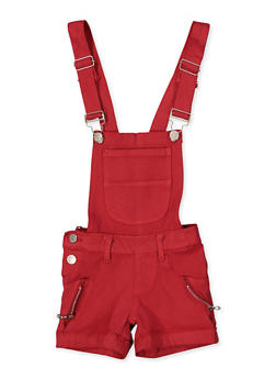 Girls 4-6x Zip Detail Hyperstretch Shortalls | Red - 1620063400037