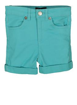 Little Girls Cuffed Twill Shorts - 1620073990045