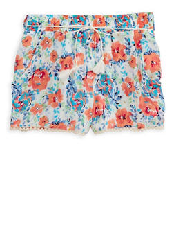 Girls 7-16 Floral Gauze Knit Shorts - 1621023130005