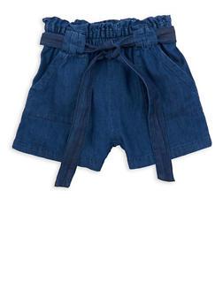 Girls 7-16 Denim Paper Bag Waist Shorts - 1621038340043